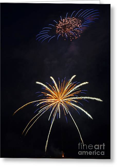Fireworks 3 The Spaceship Greeting Card by Dianne Phelps