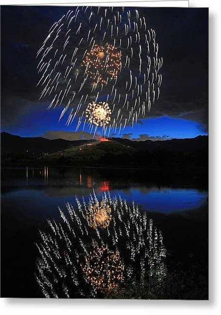Fireworks Above Memorial Hill. Greeting Card