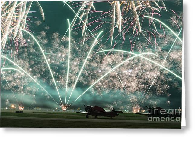 Fireworks And Aircraft Greeting Card