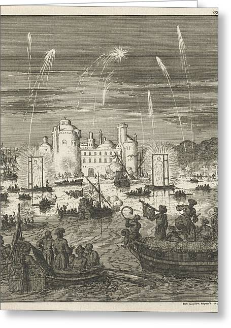 Fireworks And Gondolas In Cairo, Egypt, Jan Luyken Greeting Card