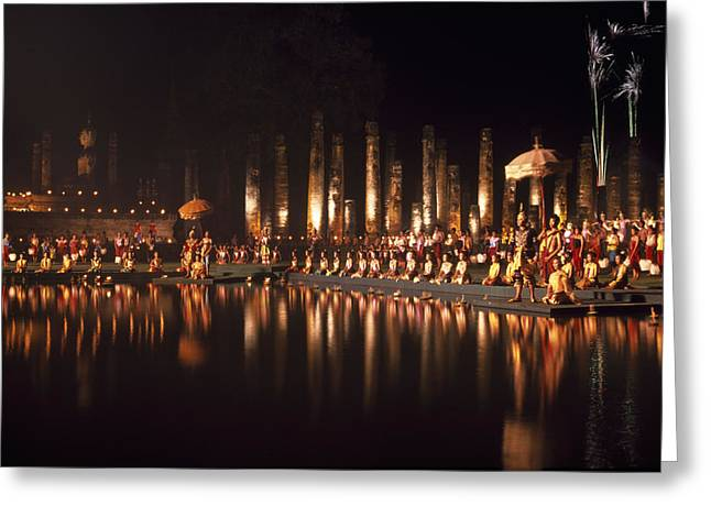Fireworks At Festival In Thailand Greeting Card by Richard Berry