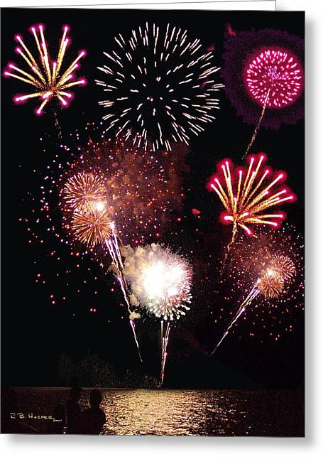 Fireworks At St. Albans Bay Greeting Card