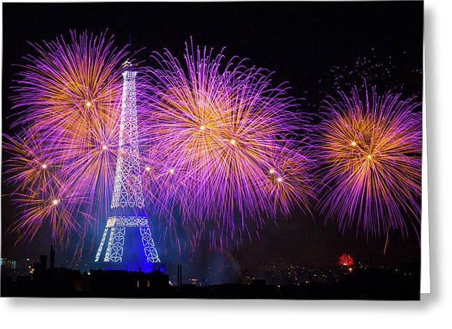 Fireworks At The Eiffel Tower For The 14 July Celebration Greeting Card