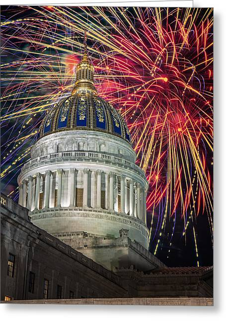 Fireworks At Wv Capitol Greeting Card by Mary Almond