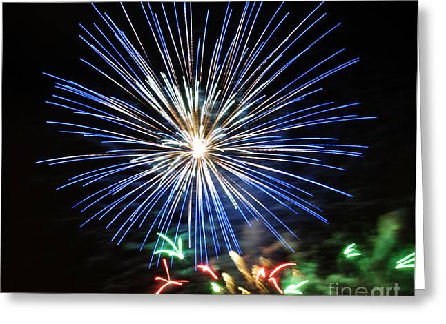 Fireworks Blue-white Greeting Card