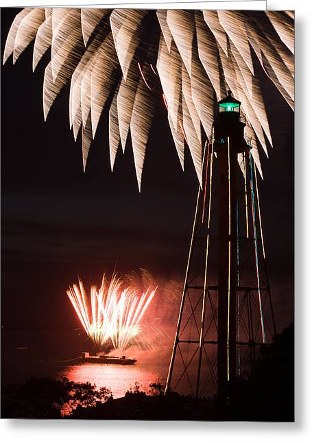 Fireworks Both High And Low At Chandler Hovey Park In Marblehead Greeting Card by Jeff Folger
