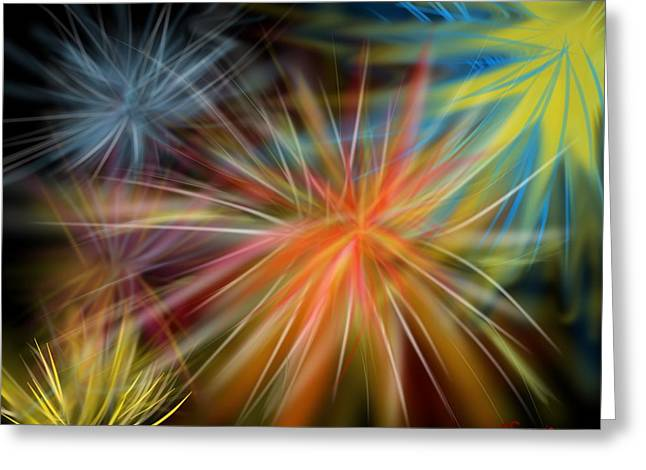 Greeting Card featuring the digital art Fireworks by Christine Fournier