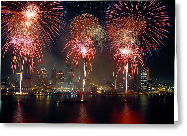 Fireworks Display At Night On Freedom Greeting Card