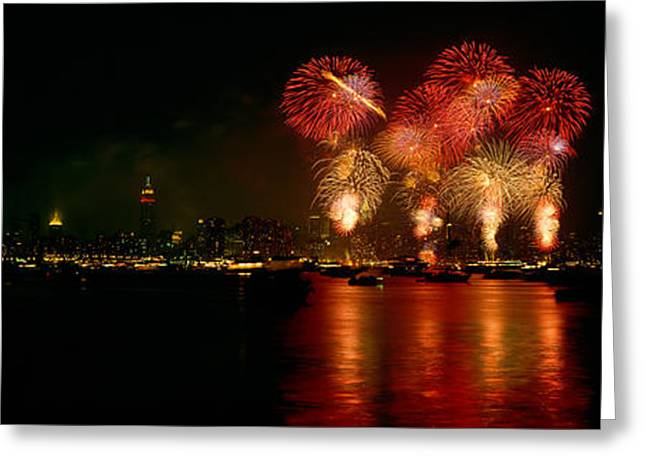 Fireworks Display At Night Greeting Card by Panoramic Images