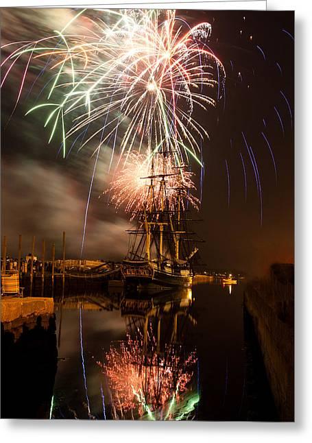 Fireworks Exploding Over Salem's Friendship Greeting Card by Jeff Folger