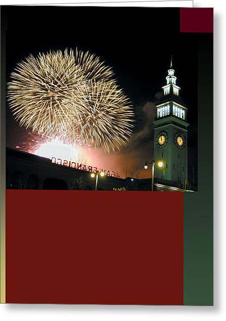 Fireworks Ferry Building Greeting Card by Richard Nodine
