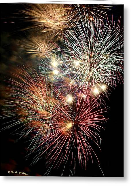 Greeting Card featuring the photograph Fireworks Finale At St Albans Bay by R B Harper
