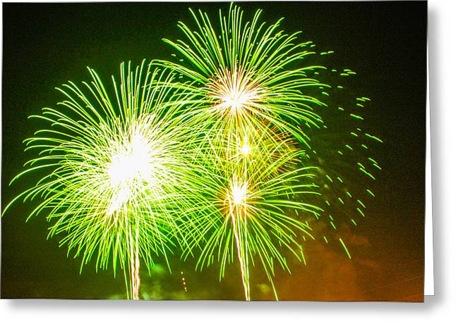 Fireworks Green And White Greeting Card by Robert Hebert