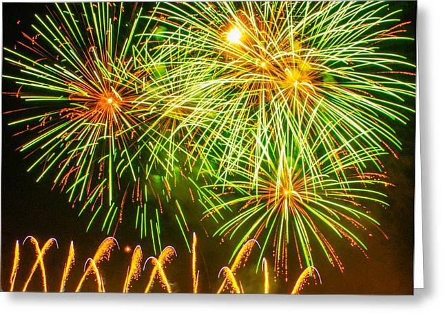 Fireworks Green And Yellow Greeting Card by Robert Hebert