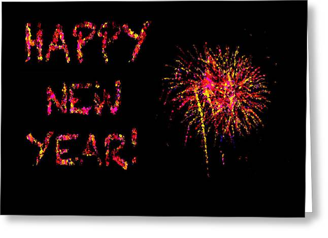 Fireworks Happy New Year In Pink Greeting Card by Marianne Campolongo