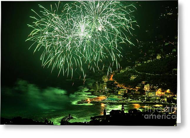 Greeting Card featuring the photograph Fireworks Hdr by Antonio Scarpi