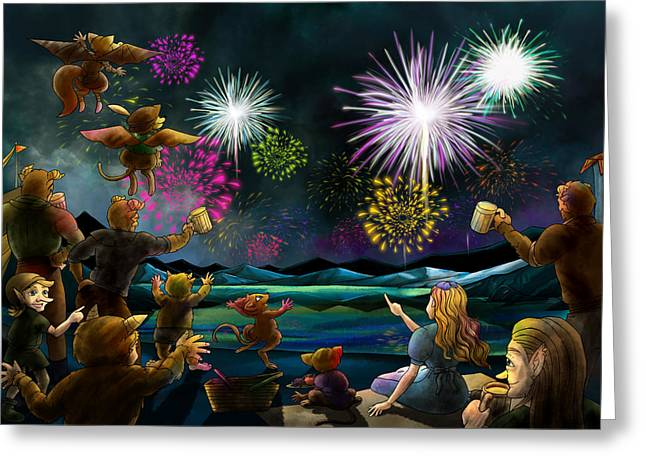 Greeting Card featuring the painting Fireworks In Oxboar by Reynold Jay
