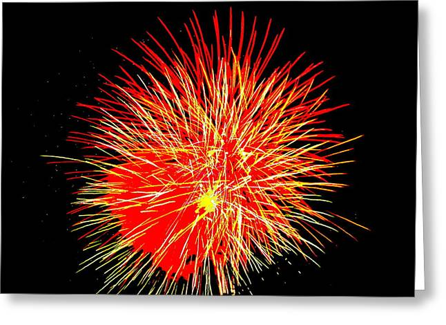 Fireworks In Red And Yellow Greeting Card by Michael Porchik