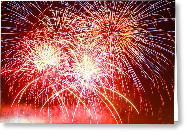 Fireworks In Red White And Blue Greeting Card by Robert Hebert