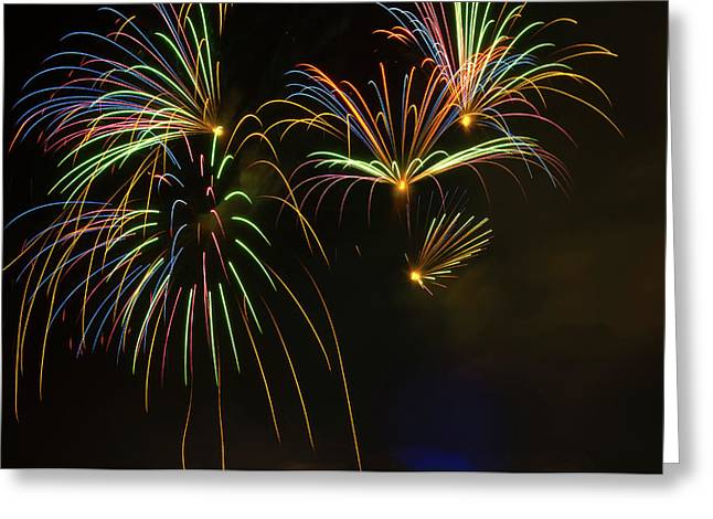 Fireworks In Sky During Fourth Of July Greeting Card
