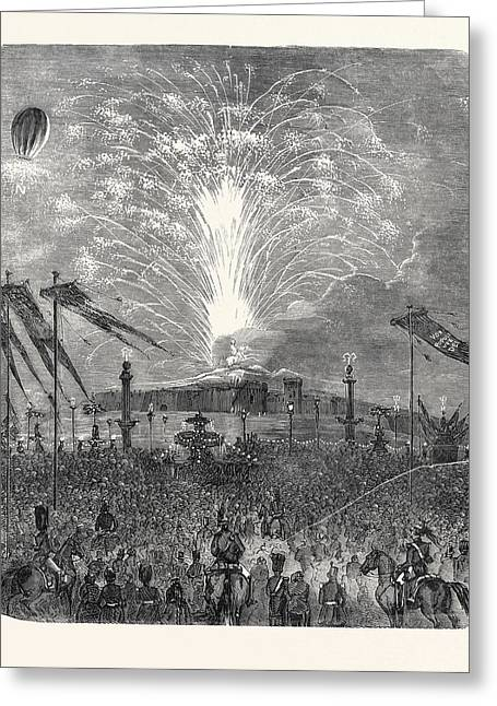 Fireworks In The Place De La Concorde Greeting Card