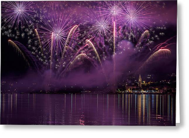 Fireworks Lake Pusiano Greeting Card by Roberto Marini