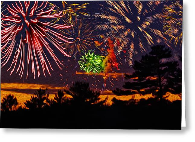 Greeting Card featuring the photograph Fireworks No.1 by Mark Myhaver