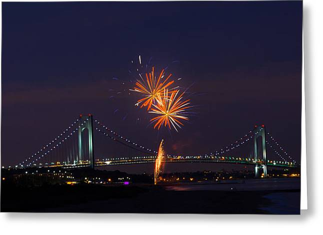 Fireworks On Staten Island South Beach Greeting Card