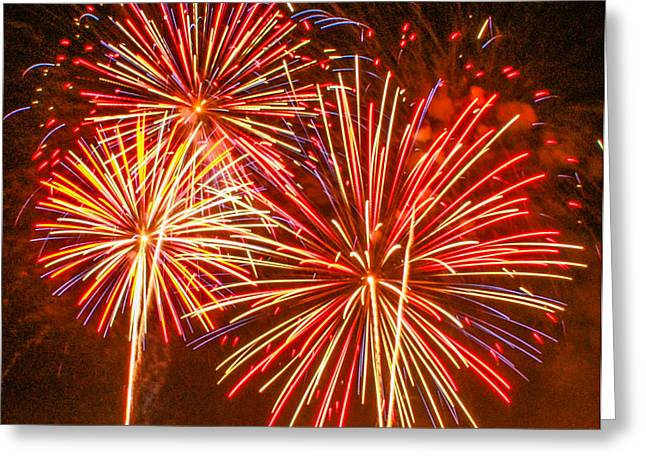 Fireworks Orange And Yellow Greeting Card by Robert Hebert