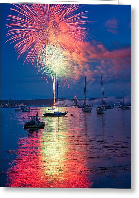 Fireworks Over Boothbay Harbor Greeting Card by Darylann Leonard Photography