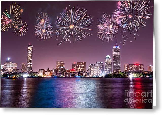 Fireworks Over Boston Greeting Card