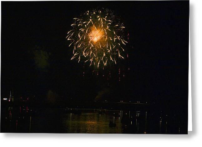 Fireworks Over Market Street Bridge Greeting Card by Gene Walls