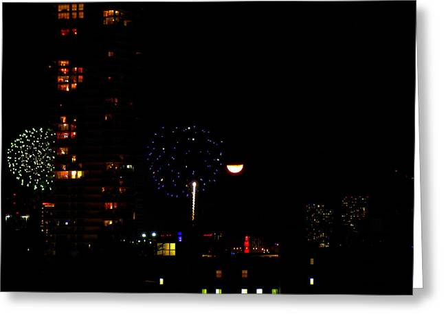 Fireworks Over Miami Moon II Greeting Card by J Anthony