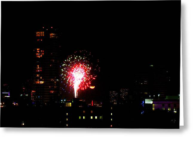 Fireworks Over Miami Moon Greeting Card by J Anthony