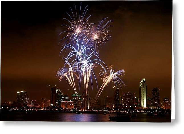 Fireworks Over San Diego Skyline Greeting Card by Jetson Nguyen