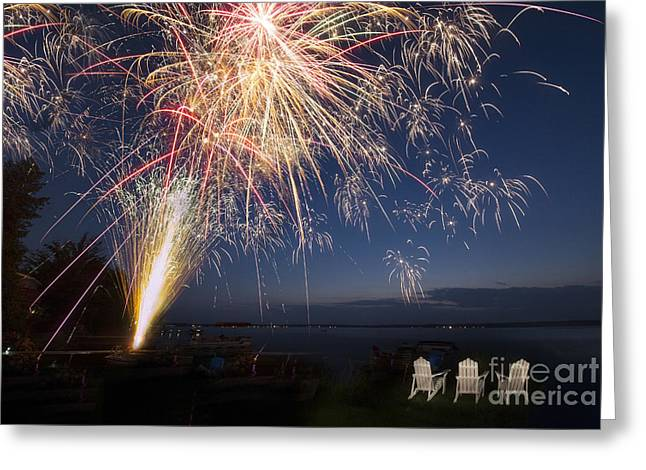 Fireworks Over The Lake Greeting Card by Twenty Two North Photography