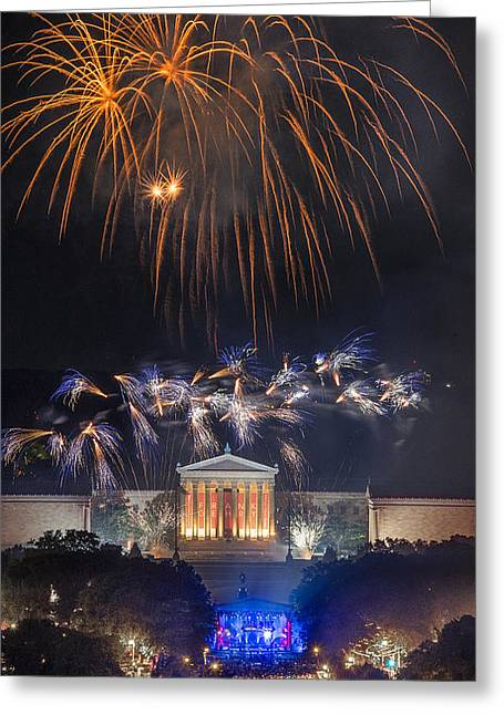 Fireworks Over The Parkway Greeting Card by Bruce Neumann