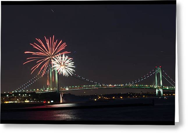 Fireworks Over Verrazano Bridge Greeting Card