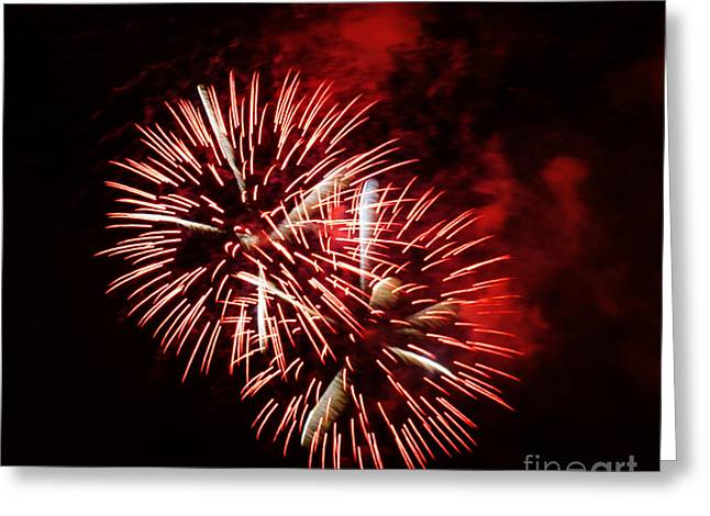 Fireworks Red-white Greeting Card
