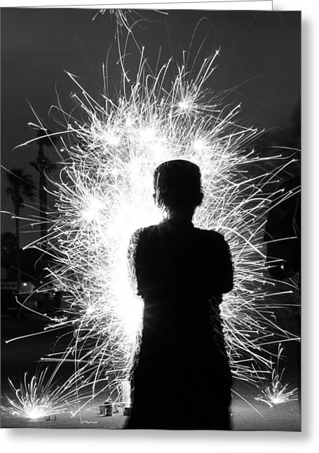 Fireworks Silhouette Greeting Card by Kevin Grant