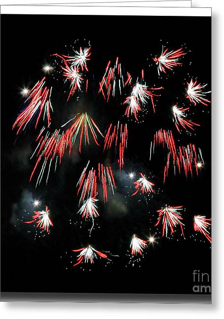 Greeting Card featuring the photograph Fireworks Squared by Chris Anderson