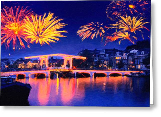 Fireworks Greeting Card by Walter Colvin
