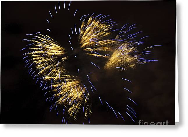Fireworks Yellow-blue Greeting Card