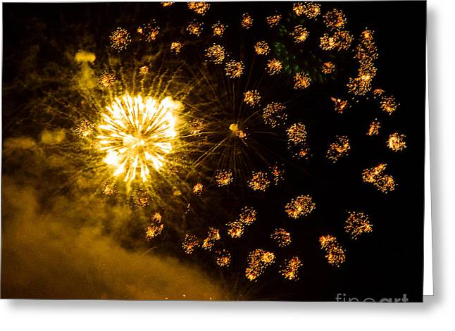 Fireworks Yellow Greeting Card
