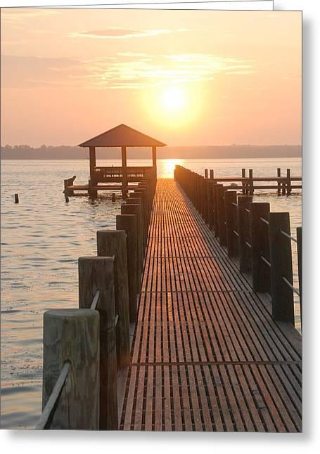 Firey Gulf Pier  Greeting Card