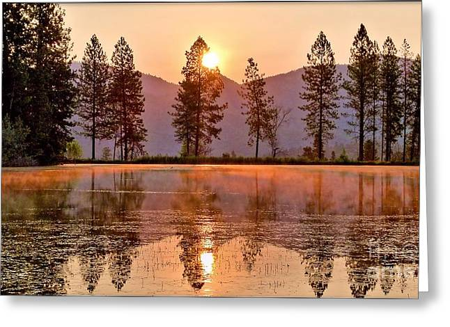 Firey Reflections Greeting Card