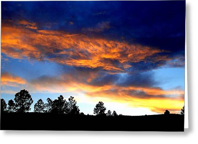 Firey Sunset Of Angel Fire Greeting Card by Cindy Croal