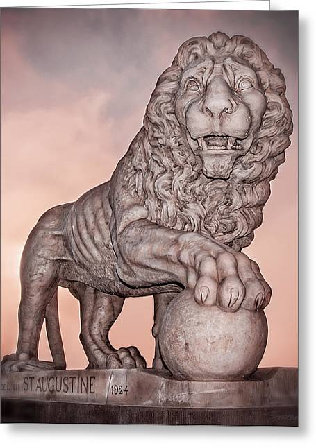 Firm Guarding The Bridge Of Lions Greeting Card