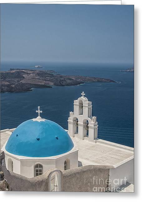 Firostefani Church On Santorini Greeting Card by Antony McAulay