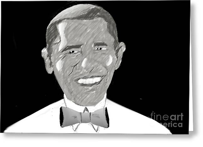 First African American President Greeting Card by Belinda Threeths